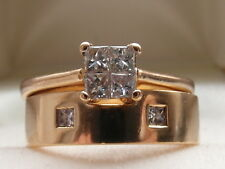 Q25  Ladies 18k solid gold .50 SI1/G diamond engagement & wedding band ring set