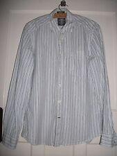 MENS H&M SHIRT WHITE COTTON/BLUE STRIPE WORN GOOD CON SMALL MARK REAR OF SLEEVE