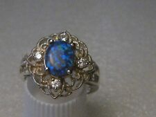 Silver Blue Opal Clear Stone Ring, Filigree,  Victorian Themed,Size 8, 3.08gr