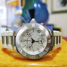 Cartier Chronoscaph 21 Stainless Steel Chronograph Womens Quartz Watch Ref:2996