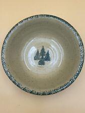 "Vintage Three Rivers Pottery Green Pine Trees Bowl 10"" Stoneware 1997"