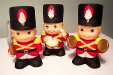 THREE VINTAGE CHRISTMAS DRUMMER BOY KNICKNACKS - MADE IN SRI LANKA - ADORABLE