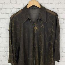 Men's Vintage Creme de Silk (3XL) Gold Shear Snake Print Short Sleeve Shirt EUC
