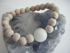 Rainbow Moonstone BEECH Wood Bracelet ECO Organic All Natural Sphere Bead