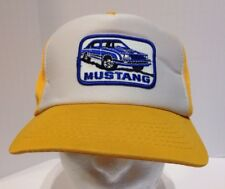 Vintage Ford Mustang Fox Body Patch Yellow Snapback Hat Cap