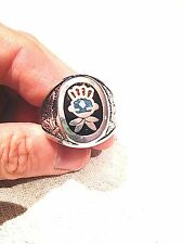 Vintage Silver White Bronze Southwestern Genuine Turquoise Inlay 7 Size Ring