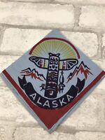 "Vintage Alaska Blue Hankie Handkerchief Totem Pole 11x11"""
