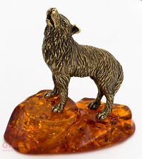 Russian Solid Brass Amber Figurine Wolf howling at Moon Totem talisman IronWork
