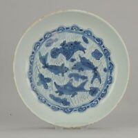 Antique Chinese 16th C Porcelain Ming Wanli China Plate Fishes Carp