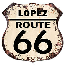 BPHR0021 LOPEZ ROUTE 66 Shield Rustic Chic Sign  MAN CAVE Funny Decor Gift