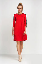 Ladies Everyday Dress With Pockets Eco Leather Sleeves Plus Sizes 8 - 18 FA437