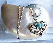 Halskette mit Herz und Türkis Edelstein Perlen, silber Kette,