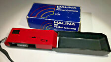 Halina 110 SGF pocket camera for 110 film in red, boxed, 1980s