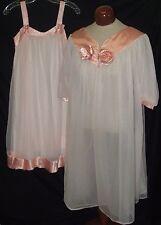 Vtg Henson Kickernick Peignoir Set Double Chiffon Nylon Negligee Nightgown sz 32