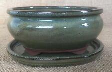Green Glazed Oval Bonsai Pot With Matching Drip Tray 15x12x7cm