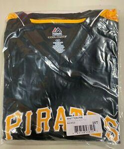 Pittsburgh Pirates Men's Majestic Black & Gold MLB V-Neck Shirt Big & Tall