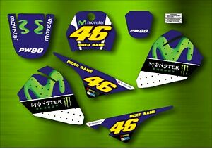 YAMAHA PW 80 rossi GRAPHICS inc. Rider Name and Number Custom Stickers decals