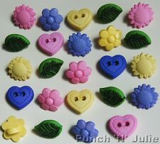 TINY POT POURRI - Flower Leaf Heart Summer Mother's Day Novelty Craft Buttons