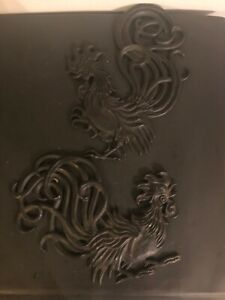 Vtg. Pr. Of  Vermay Farmhouse Fighting Rooster Metal Wall Plaques
