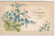 CPA GAUFREE EMBOSSED Meilleurs voeux Fleurs bleues ca1906