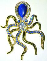 Vintage Octopus Squid Art Deco Nouveau Gold Pin Blue Crystal Rhinestones Gift