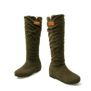 US Size 4-15 Women Knee High Mid Calf Military Flat Suede Comfort Casual Boots