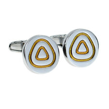 Round Silver- Yellow Triangle Hi Quality Cufflinks X2PSF049