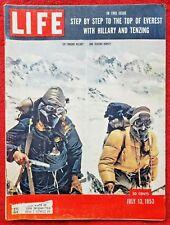 RARE! JULY 13 1953 Life Magazine MT EVEREST HILLARY & TENZING - VERY GOOD!