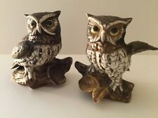Vtg Pair of Homco Brown and White Barn Owl Figurines Perched on a Branch #1114