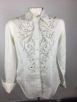 CAbi Womens Sz S Style #365 White Long Sleeve Button Blouse Embroidered Cotton
