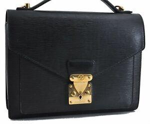 Authentic Louis Vuitton Epi Monceau Hand Bag Briefcase Black M52122 LV C6482