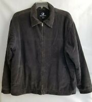 Bullhead Mens Jacket Zip Front Gray Corduroy Pockets Beige Fleece Lined Size XL