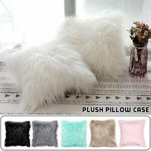 Soft Fluffy Faux Fur Pillow Case Plush Cushion Cover Throw Sofa Bed Home Decor