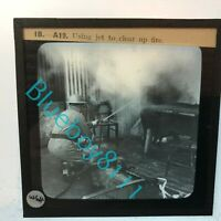 WW2 Home Front AFS Fire fighting Glass Slide Using A Jet To clear up Fire