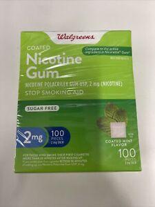 Walgreens Nicotine Gum, 2mg, Coated Mint Flavor, 100pcs, Exp:09/2023