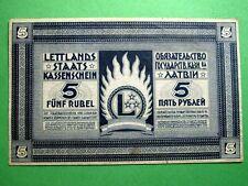 Primero independiente de Letonia dinero, 5 rublos 1919 billete del Tesoro de Estado