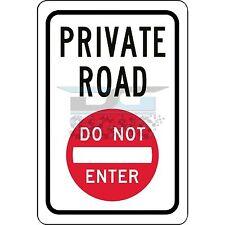Private Road Do Not Enter Symbol - aluminum sign 8x12