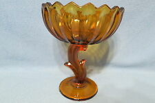 """Vintage Indiana Glass Co Lotus Blossom Compote #1007 Amber in Color 7 1/2"""""""