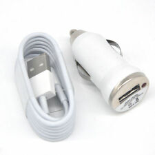 White Car Adapter + Charger Cable Data Sync Transfer for iPhone SE 5S 6 Plus