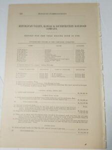 1886 train document REPUBLICAN VALLEY, KANSAS & SOUTHWESTERN RAILROAD Almena KS