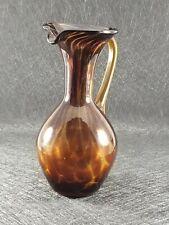 Vintage Brown Glass Handblown Vase Pitcher