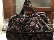 "Vera Bradley 22"" Wheeled Luggage Duffel Carry-On Bag, Black Floral Print"