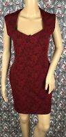 FOREVER 21 Red Textured Sheath Dress Sweetheart Neckline Cap Sleeve Size Medium