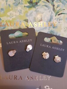 BNWT TWO PAIRS LAURA ASHLEY STUD EARINGS WITH GIFT POUCHES