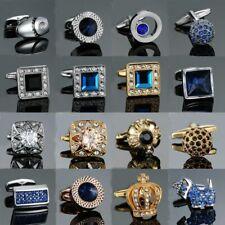 Mens Cufflinks Luxury Crown Fashion Crystal Shirt Copper Metal Business Quality