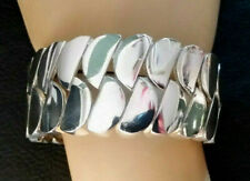"Sterling Silver Bracelet Bangle Big Statement Curb Link WIDE 7"" 80.9g 925 #289"