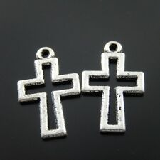 34452 Antiqued Silver Alloy Hollow Cross Pendant Charms Necklace Jewelry 120pcs