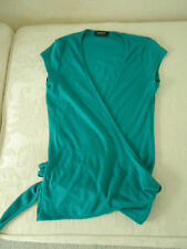 Ladies bottle green Kookai top crossover front side or back tie cap sleeves XS S