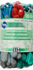 BBH ONE SIZE 10 Pair Gardening Work Gloves Latex Foam Coating Polyester Lining