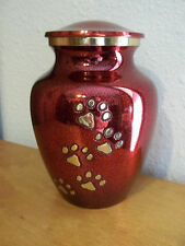 """Beautiful Red w/Gold Walking  Paw Prints Brass Pet Urn~5""""~for up to 28 Lbs"""